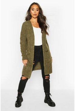 Khaki Cable Knit Oversized Boyfriend Cardigan
