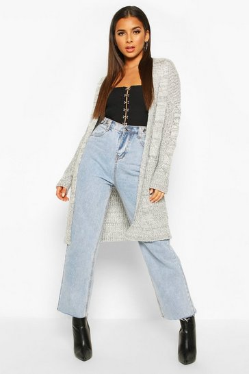 Silver Cable Knit Oversized Boyfriend Cardigan