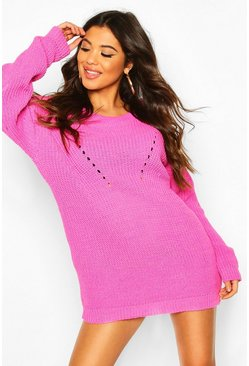 Pink Turtle Neck Knitted Dress