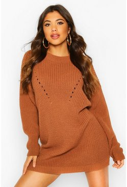 Womens Toffee Turtle Neck Knitted Dress