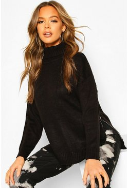 Black Roll Neck Zip Side Jumper