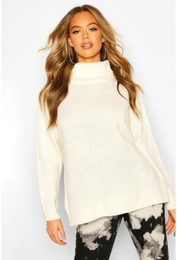 Roll Neck Zip Side Jumper, Cream, DAMEN