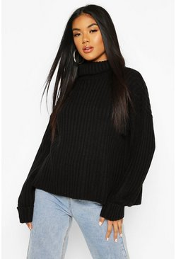 Ribbed Roll Neck Jumper, Black, Femme