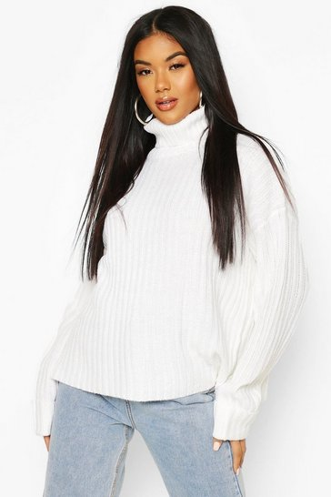 Womens Ivory Ribbed Roll Neck Jumper