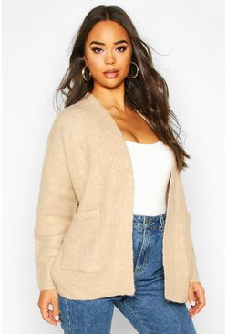 Rib Edge To Edge Pocket Cardi, Biscuit, DAMEN