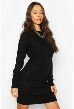 Crew Neck Jumper Dress, Black, ЖЕНСКОЕ