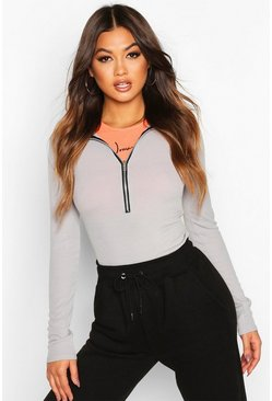 Grey Ribbed Long Sleeve Zip Up Bodysuit