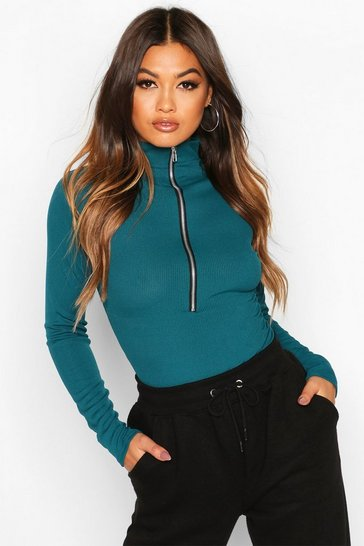 Teal Ribbed Long Sleeve Zip Up Bodysuit
