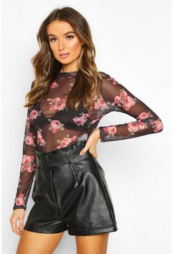 Floral Mesh Crew Neck Top, Black, MUJER