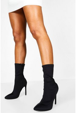 Womens Black Pointed Toe Stiletto Heel Sock Boots