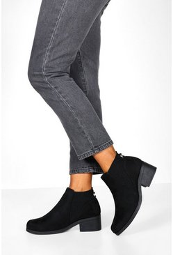 Womens Black Low Block Heel Chelsea Boots