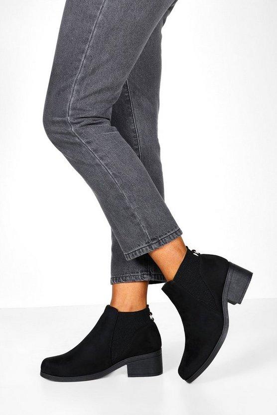 Low Block Heel Chelsea Boots