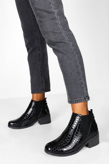 Black Croc Low Block Heel Chelsea Boots