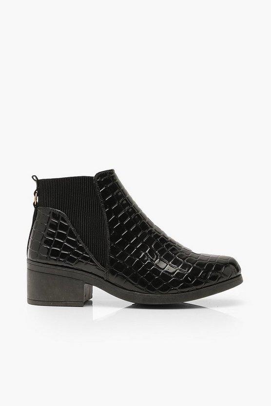Croc Low Block Heel Chelsea Boots