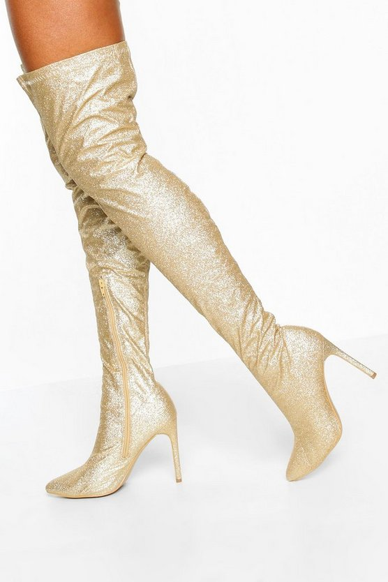 Gold Glitter Stiletto Heel Over The Knee Boots