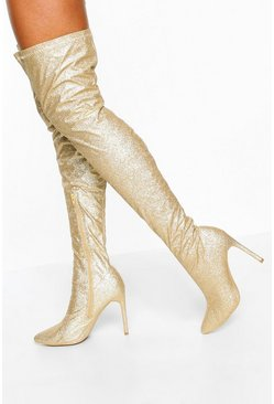 Glitter Stiletto Heel Over The Knee Boots, Gold, MUJER