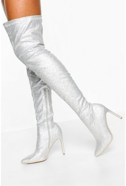 Silver Glitter Stiletto Heel Over The Knee Boots
