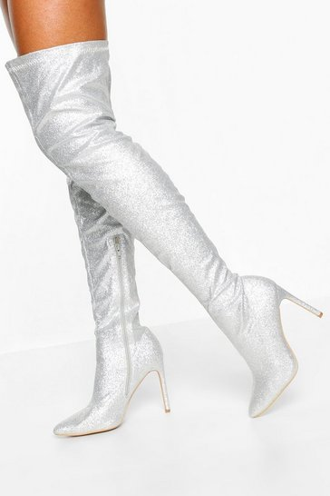 Womens Silver Glitter Stiletto Heel Over The Knee Boots