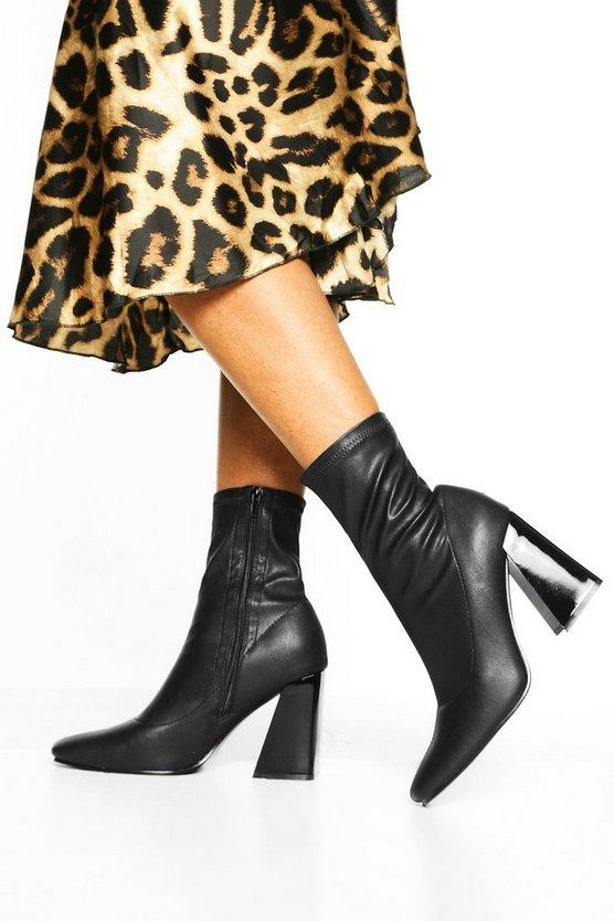 Flared Heel Sock Boots
