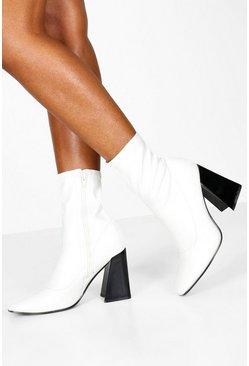 Womens White Flared Heel Sock Boots