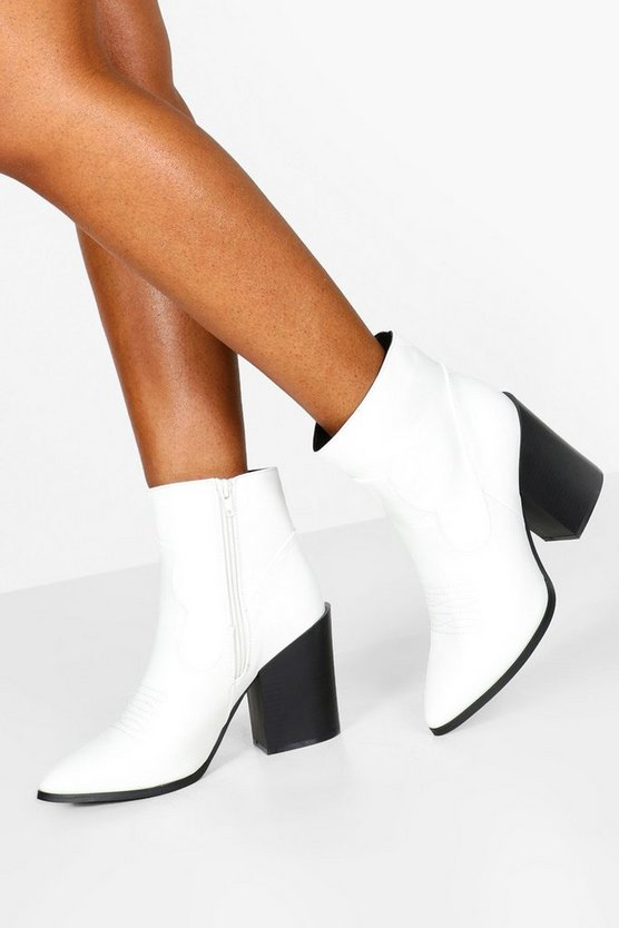 White Block Heel Pointed Toe Shoe Boots