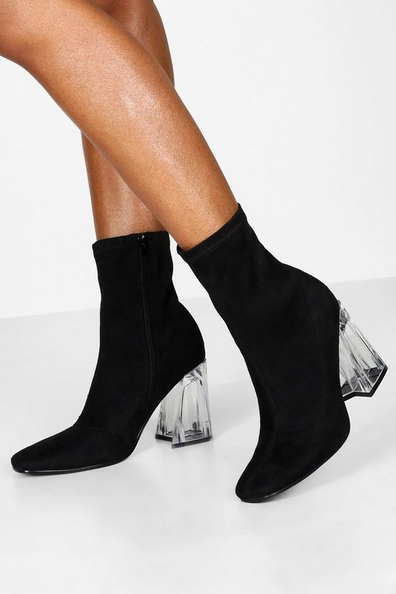 Black Clear Flare Heel Sock Boots