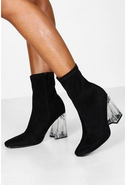 Clear Flare Heel Sock Boots, Black, DAMEN
