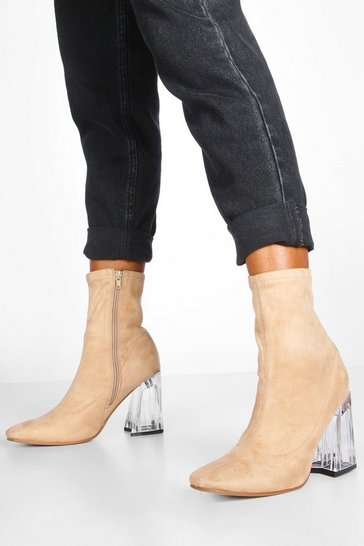 Womens Nude Clear Flare Heel Sock Boots