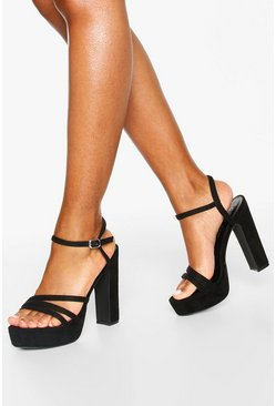 Black Three Strap Block Heel Platform 2 Parts