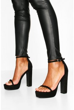 Skinny Strap Block Heel Platform 2 Parts, Black