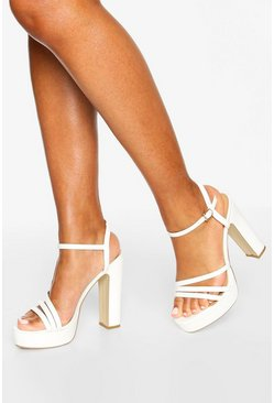 Three Strap Block Heel Platform 2 Parts, White