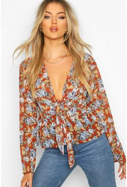 Womens Rust FLoral Tie Waist Woven Top