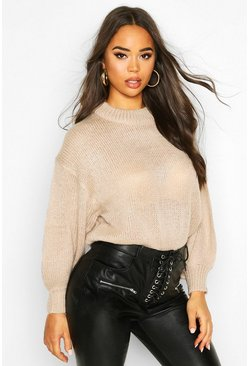 Crew Neck Balloon Sleeve Jumper, Biscuit, DAMEN
