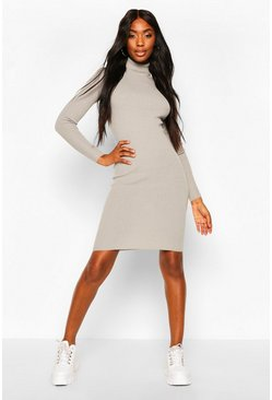 Ribbed Turtle Neck Midi Jumper Dress, Crystal