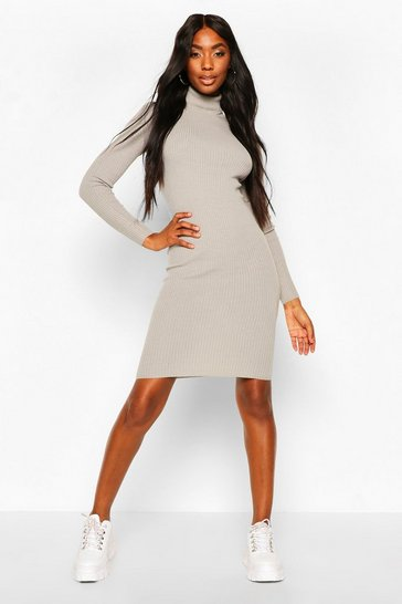 Crystal Ribbed Turtle Neck Midi Jumper Dress