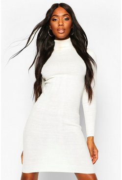 Womens Ivory Ribbed Turtle Neck Midi Jumper Dress