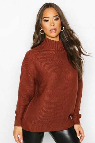 Womens Brown Funnel Neck Longline Jumper