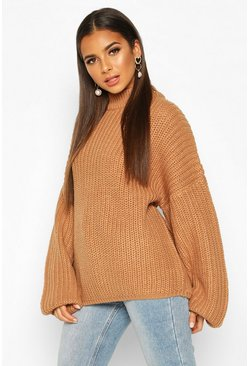 Womens Camel Oversized Balloon Sleeve Jumper