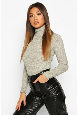 Fine Knit Polo Neck Long Sleeve Top, Silver grey, DAMEN