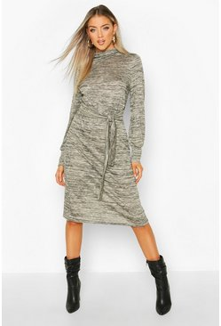 Stone Brushed Belted Midi Shift Dress