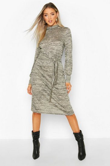 Womens Stone Brushed Belted Midi Shift Dress
