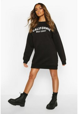 Womens Black California Slogan Rib Hem Sweatshirt Dress