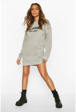 Womens Grey marl California Slogan Rib Hem Sweatshirt Dress