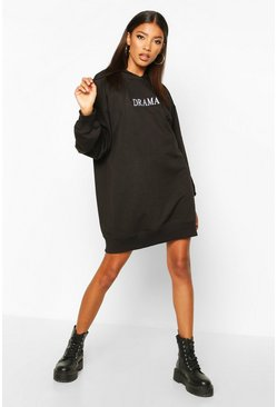 Womens Black Hooded Embriodered Sweatshirt Dress