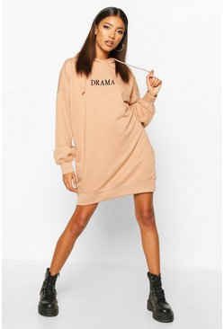 Womens Camel Hooded Embriodered Sweatshirt Dress