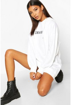 White Hooded Embriodered Sweatshirt Dress