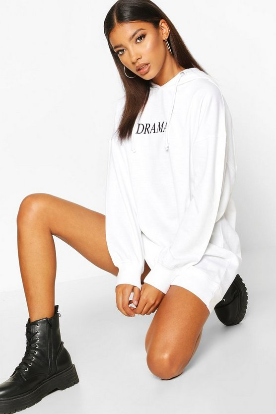 Hooded Embriodered Sweatshirt Dress