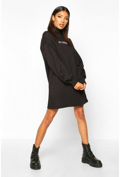 Womens Black Roll Neck Chest Embroidered Sweatshirt Dress