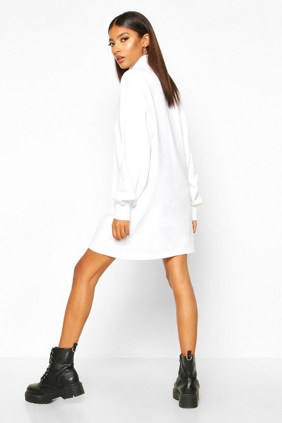 Roll Neck Chest Embroidered Sweatshirt Dress