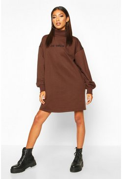 Womens Chocolate Roll Neck Chest Embroidered Sweatshirt Dress